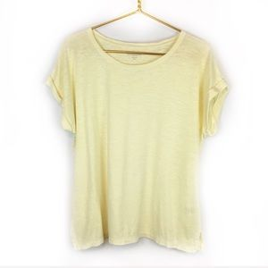 Eileen Fisher Petite Light Yellow Short Sleeve Tee